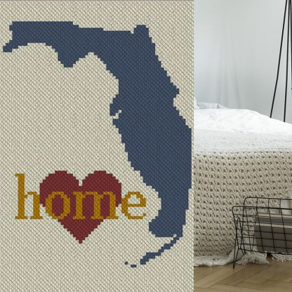 Florida Home C2C Afghan Crochet Pattern Corner to Corner Blanket Pattern Graphghan Cross Stitch Blue Frog Creek