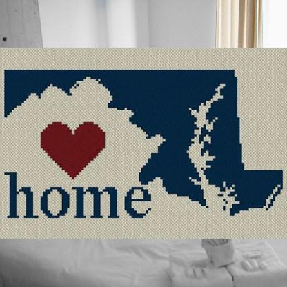 Maryland Home C2C Crochet Pattern Afghan Blanket Cross Stitch Graph