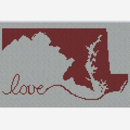 Maryland Love C2C Crochet Pattern Corner to 2 Corner Afghan Blanket