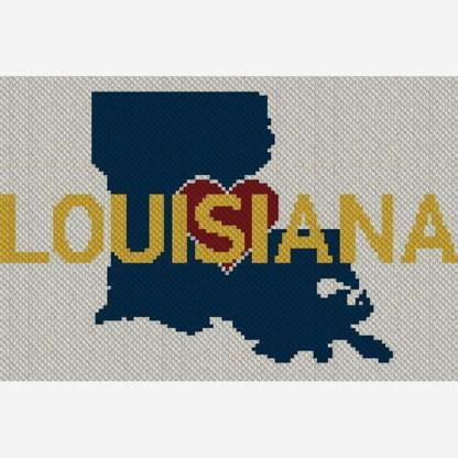Heart Louisiana C2C Afghan Corner to Corner Crochet Pattern Blanket