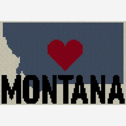 Heart Montana C2C Afghan Crochet Pattern Corner to Corner Cross Stitch Graghghan Blue Frog Creek