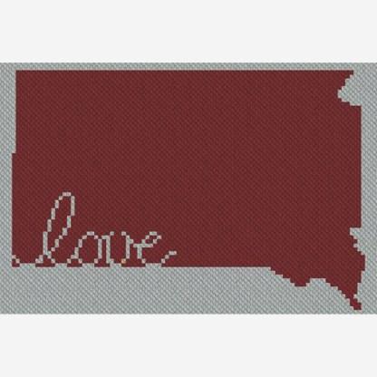 South Dakota Love C2C Afghan Crochet Pattern Corner to Corner Cross Stitch graphghan Blue Frog Creek