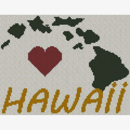 Heart Hawaii C2C Afghan Crochet Pattern Corner to Corner Cross Stitch Graphghan Blue Frog Creek