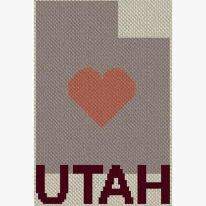 Heart Utah C2C Afghan Crochet Pattern Corner to Corner Graphghan Cross Stitch Blue Frog Creek