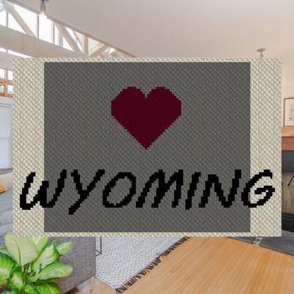Heart Wyoming C2C Afghan Crochet Pattern Corner to Corner Graphghan Cross-Stitch Blue Frog Creek