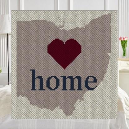 Ohio Home C2C Afghan Crochet Pattern Corner to Corner Crochet Pattern Graphghan Cross Stitch Blue Frog Creek
