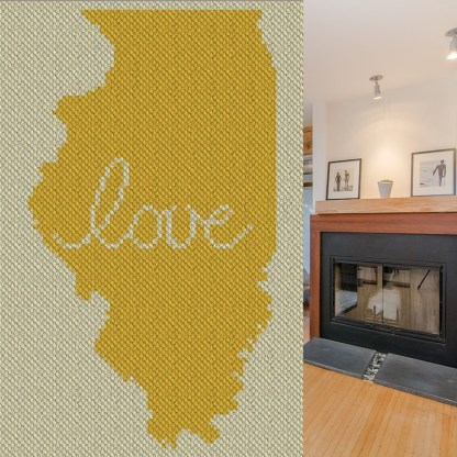 Illinois Love C2C Crochet Pattern Corner To Corner Graphghan Cross Stitch Blue Frog Creek
