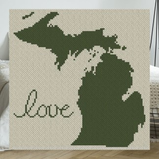 Michigan Love C2C Afghan Crochet Pattern Corner to Corner Blanket Pattern Blue Frog Creek