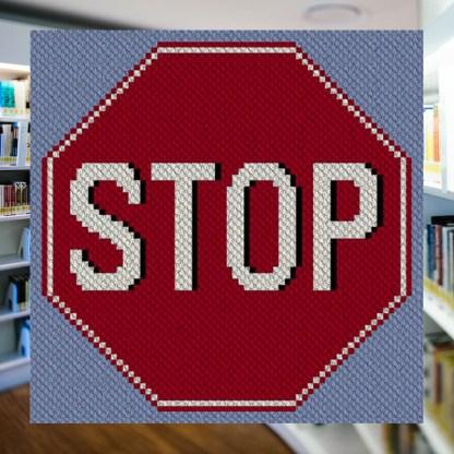 Stop Sign C2C Afghan Crochet Pattern Corner to Corner Crochet Pattern Graphghan Cross Stitch Blue Frog Creek