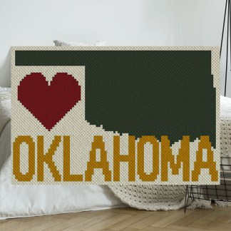 Heart Oklahoma c2C Afghan Crochet Pattern Corner to Corner Blanket Blue Frog Creek