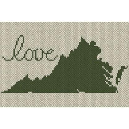 Virginia Love C2C Afghan Crochet Pattern Corner to Corner Cross Stitch Graph Blue Frog Creek