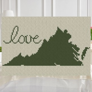 Virginia Love C2C Afghan Crochet Pattern Corner to Corner Cross Stitch Graph Blue Frog Creek