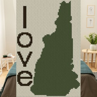 New Hampshire Love C2C Afghan Crochet Pattern Corner to Corner Graphghan Blue Frog Creek