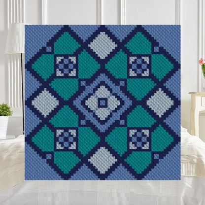 Blue Lake C2C Afghan Crochet Pattern Corner to Corner Graphghan Cross Stitch Blue Frog Creek