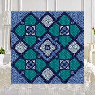 Blue Lake C2C Afghan Crochet Pattern Corner to Corner Graphghan Cross Stitch Blue Frog Creek