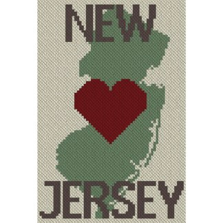 Heart New Jersey C2C Afghan Crochet Pattern Corner to Corner Graphghan Cross Stitch Blue Frog Creek