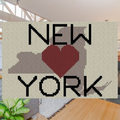 Heart New York Design 2 C2C Afghan Crochet Pattern Corner Corner Graphghan Cross Stitch Blue Frog Creek
