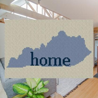My Home Kentucky C2C Afghan Crochet Pattern Corner to Corner Graphghan Cross Stitch Blue Frog Creek 800c