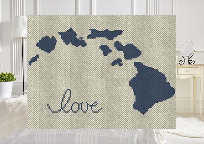 Hawaii Love C2C Afghan Crochet Pattern