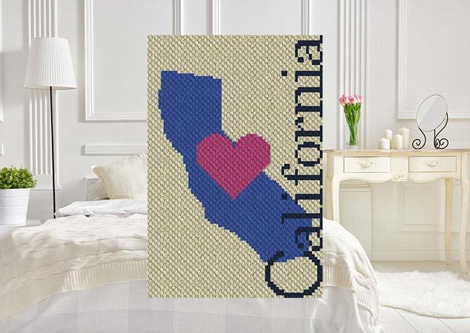 Heart California C2C Crochet Pattern