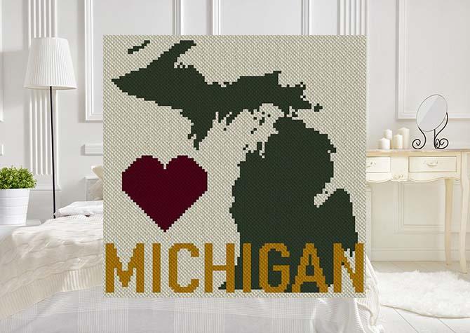 Heart Michigan C2C Afghan Crochet Pattern