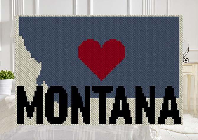 Heart Montana C2C Afghan Crochet Pattern