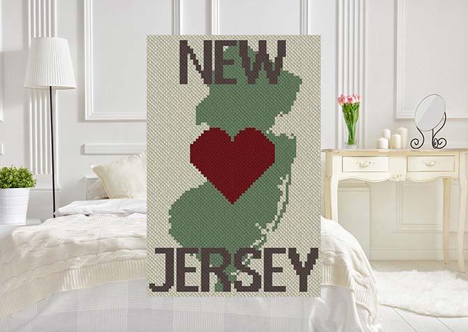 Heart New Jersey C2C Afghan Crochet Pattern