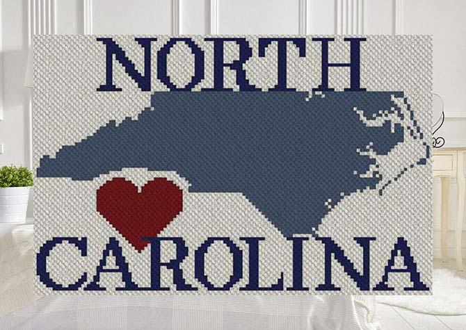 Heart North Carolina C2C Afghan Crochet Pattern