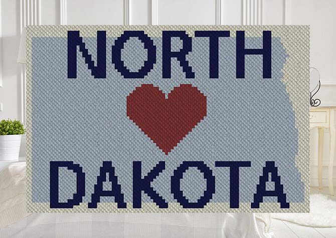 Heart North Dakota C2C Afghan Crochet Pattern