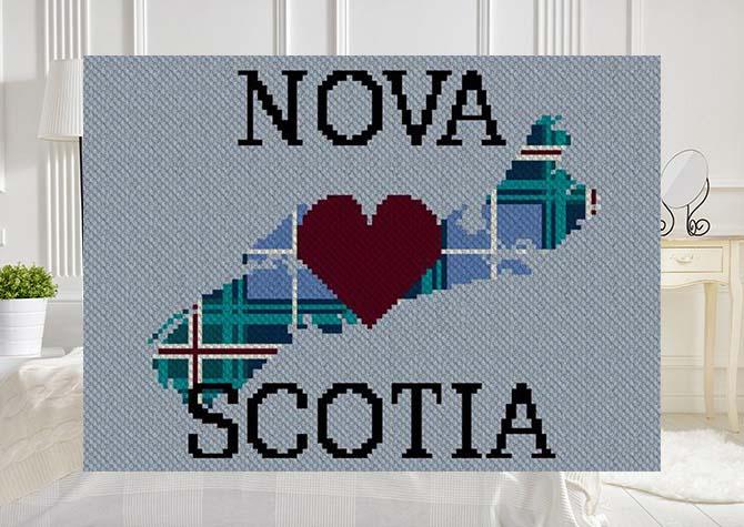 Heart Nova Scotia Plaid Twin Wide C2C Afghan Crochet Pattern
