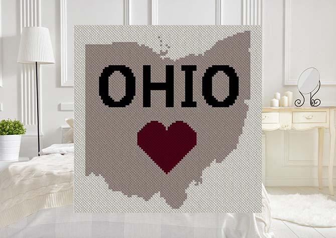 Heart Ohio C2C Afghan Crochet Pattern