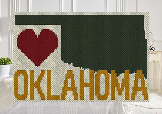 Heart Oklahoma C2C Afghan Crochet Pattern