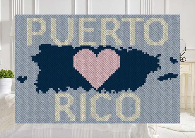 Heart Puerto Rico C2C Afghan Crochet Pattern