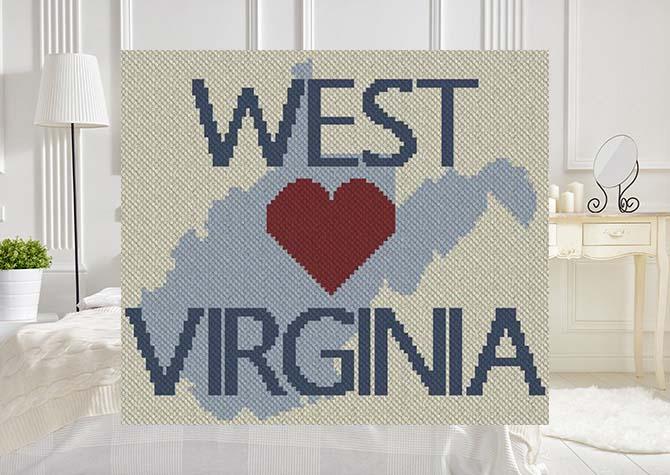 Heart West Virginia C2C Afghan Crochet Pattern