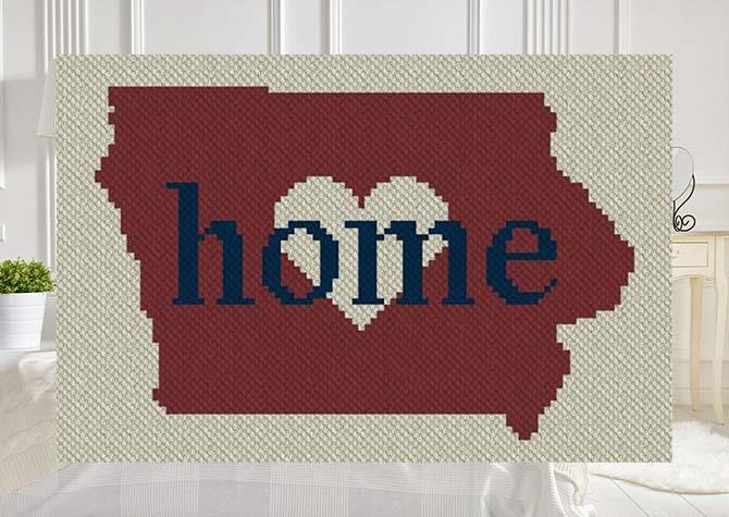 Iowa Home C2C Afghan Crochet Pattern
