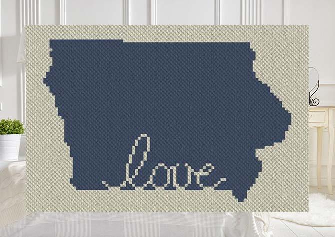 Iowa Love C2C Afghan Crochet Pattern