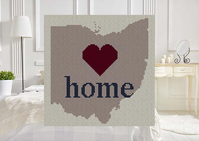 Ohio Home C2C Afghan Crochet Pattern