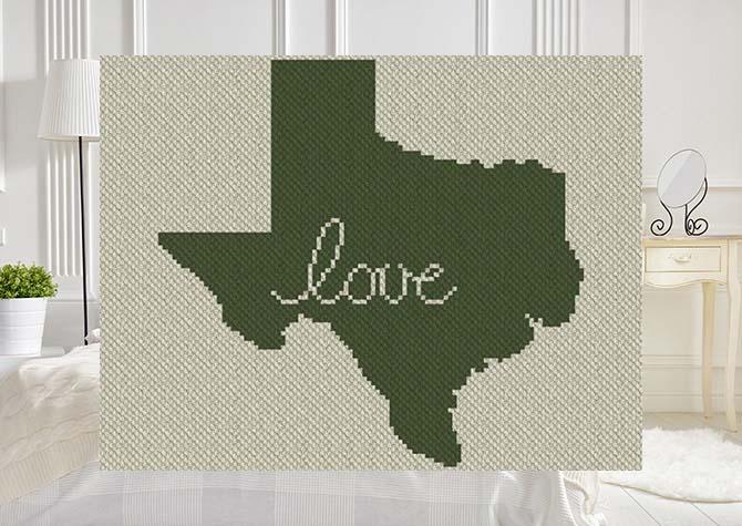 Texas Love C2C Afghan Crochet Pattern