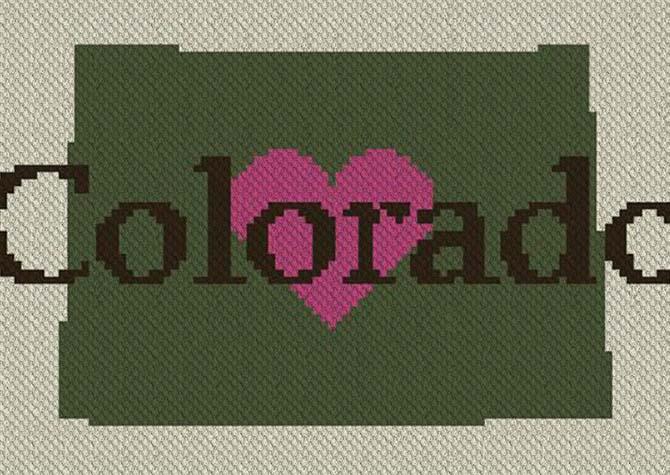 Heart Colorado C2C Crochet Pattern