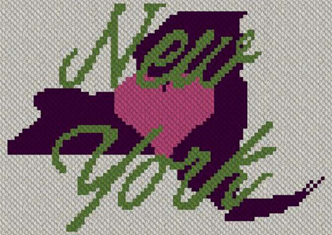 Heart New York C2C Crochet Pattern