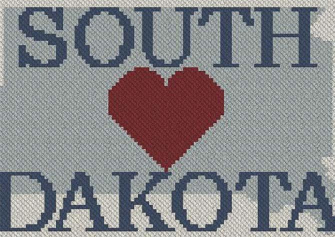 Heart South Dakota C2C Afghan Crochet Pattern