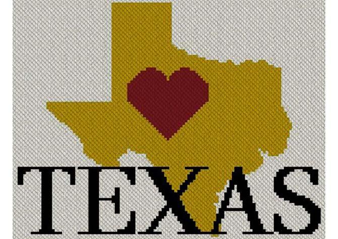 Heart Texas C2C Afghan Crochet Pattern
