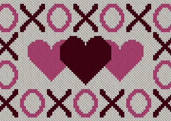 Hugs Kisses and Hearts C2C Crochet Pattern