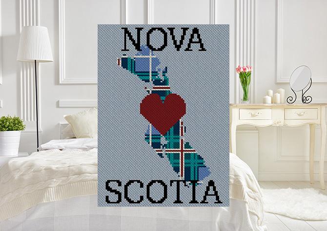Heart Nova Scotia Plaid Twin Taller C2C Afghan Crochet Pattern