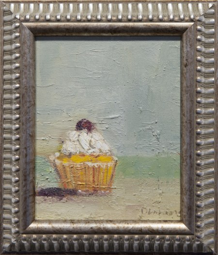 "Stephen Dinsmore, Cupcake with Cherry, oil on canvas 13.5"" x 11.5"" fr."