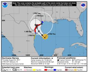 National Hurricane Center's Hurricane Harvey Track on Aug 24, 2017 at 4pm CDT