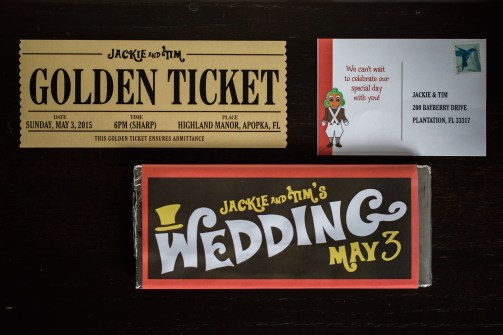 Willy Wonka wedding invitations Bluegrass Chic Floral