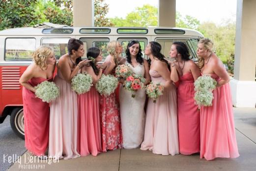 Fun bridesmaids with a VW Van