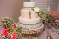 Cake table with bouquets