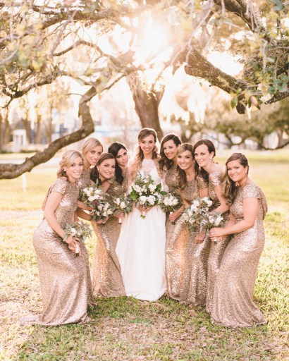 Bride with her maids in gold.